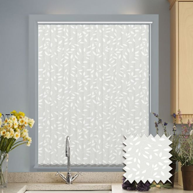 Made to Measure Vertical Blinds in Chatsworth White fabric White patterned fabric - Just Blinds
